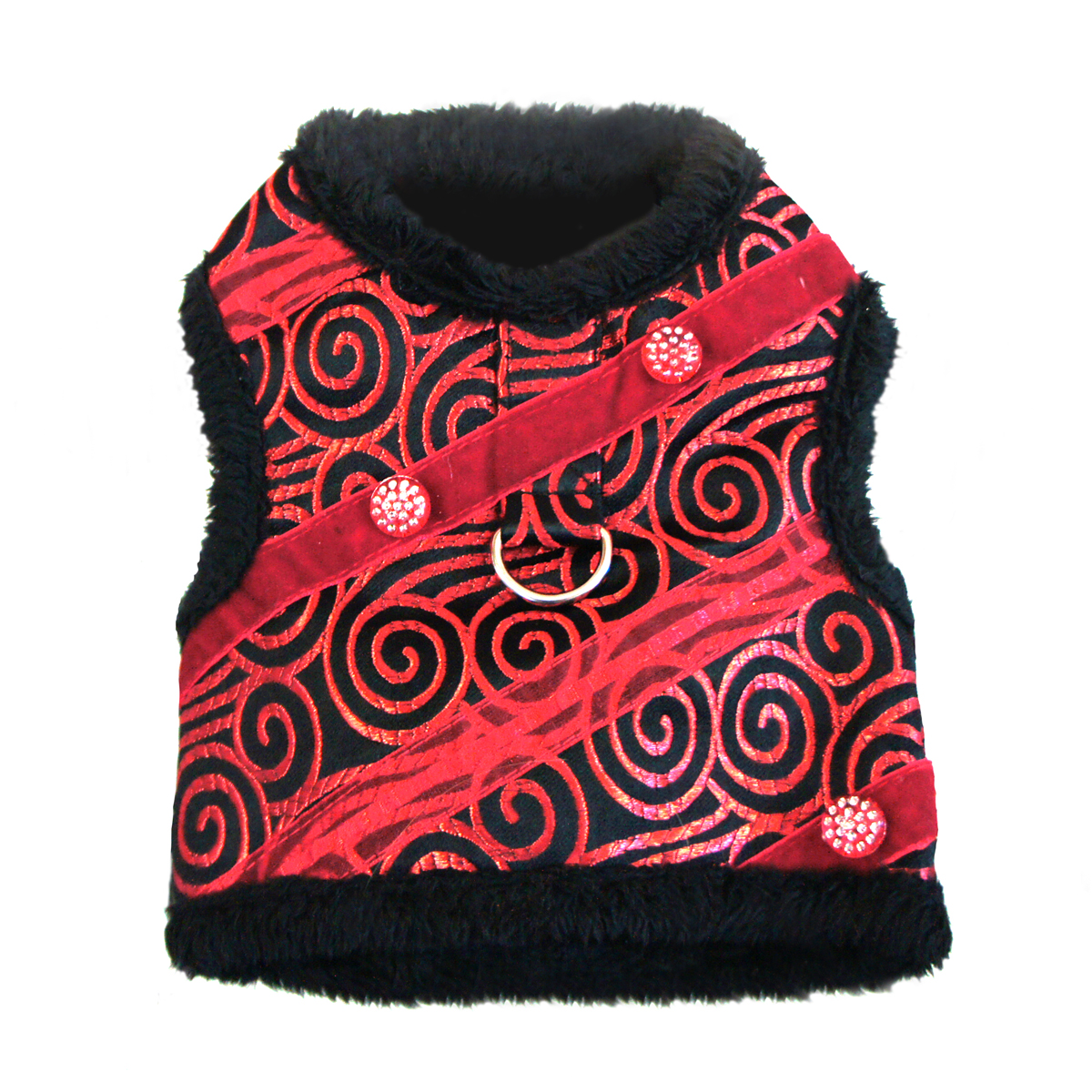 Ruby Red Brocade Minky Plush Dog Harness with Leash