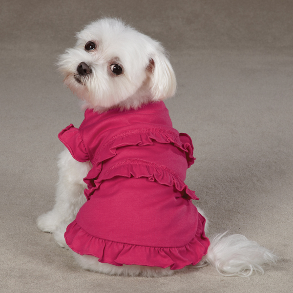 Ruffle Dog Tank - Raspberry