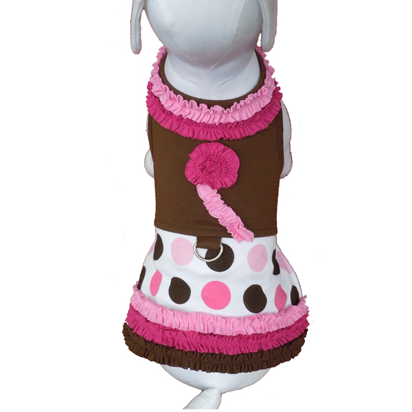 Ruffles and Polka Dot Dog Harness Dress w/Leash