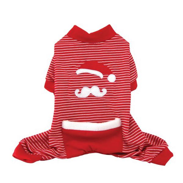 Santa Stache Holiday Dog Pajamas - Red