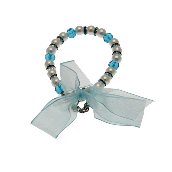 Satin Bow Pearl Dog Necklace - Blue