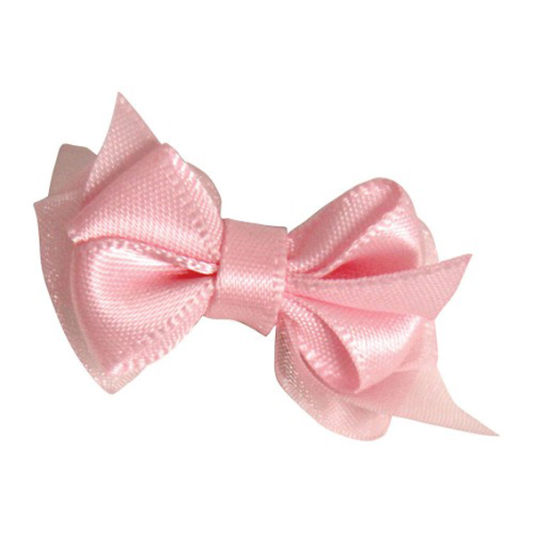 Satin Dog Hair Bow with Alligator Clips - Peal Pink
