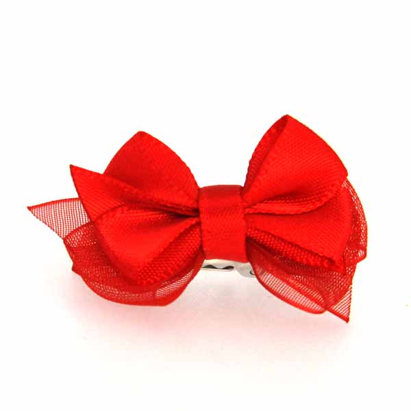 Satin Dog Hair Bow with Alligator Clips - Red