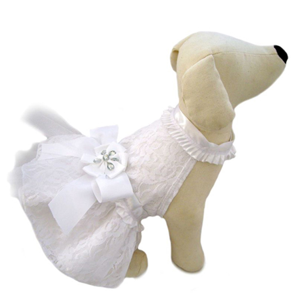 Satin and lace wedding dog dress at baxterboo for Wedding dress for dog