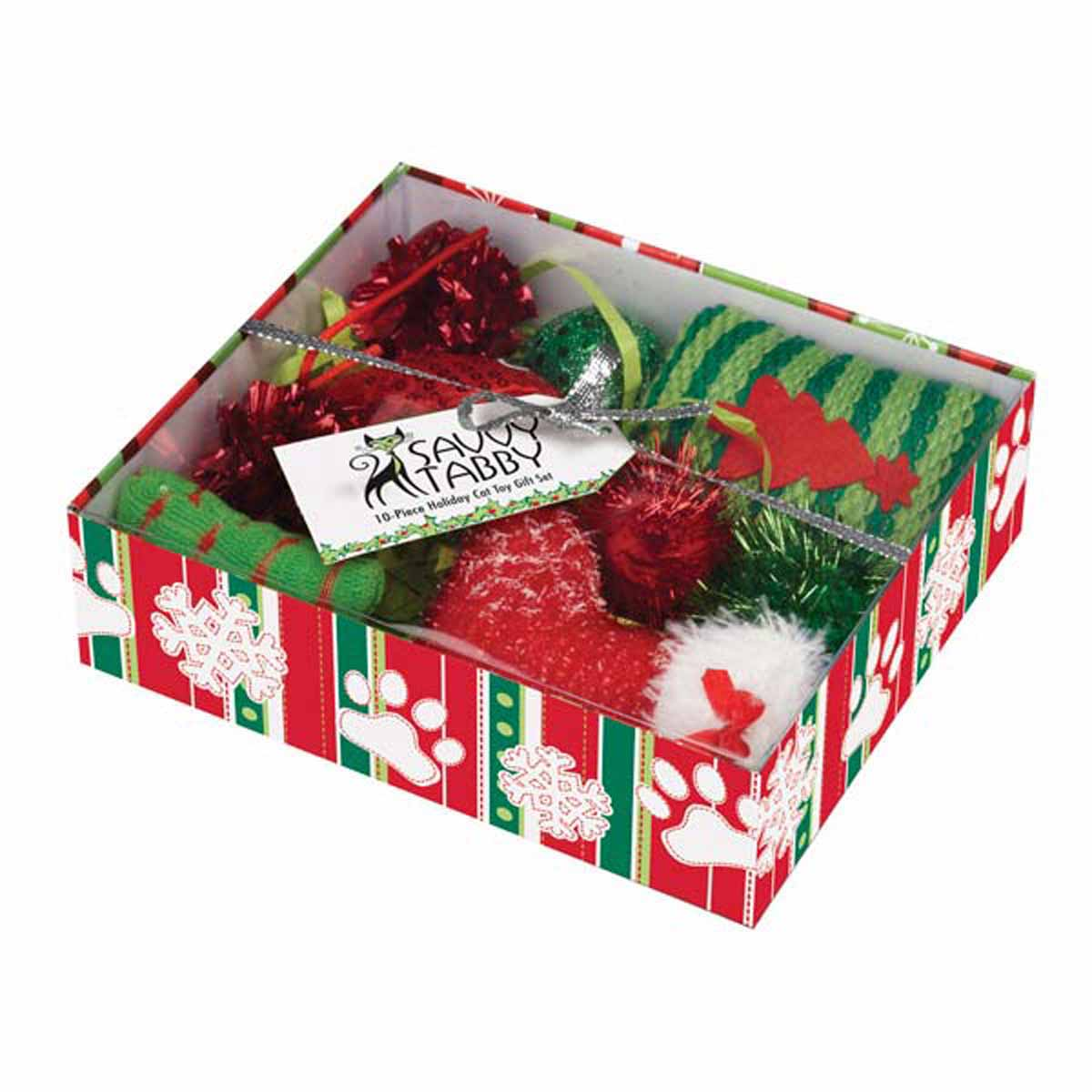 Savvy tabby crinkle kitty holiday gift set green and red