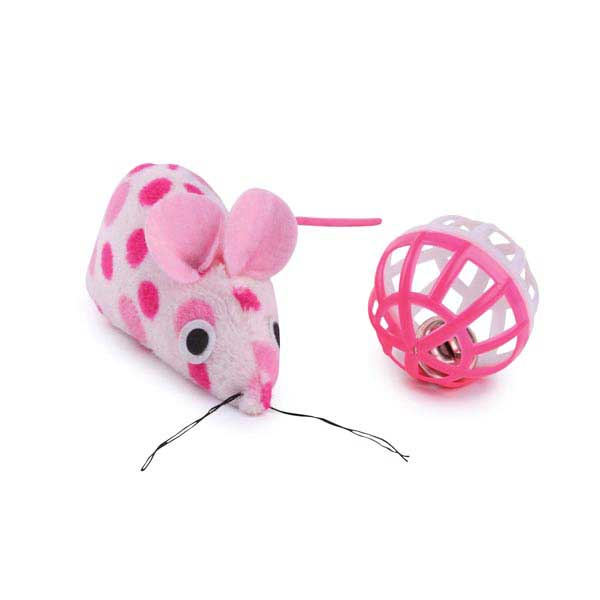 Savvy Tabby Polka Dot Mouse and Ball - Pink