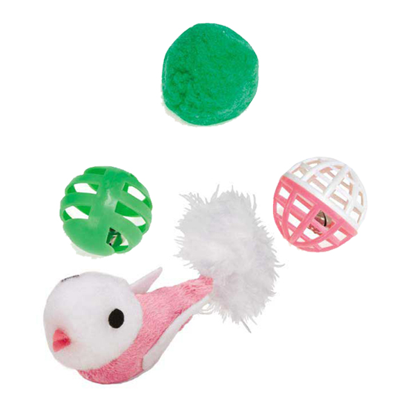 Savvy Tabby Rattle Bird & Balls Cat Toys