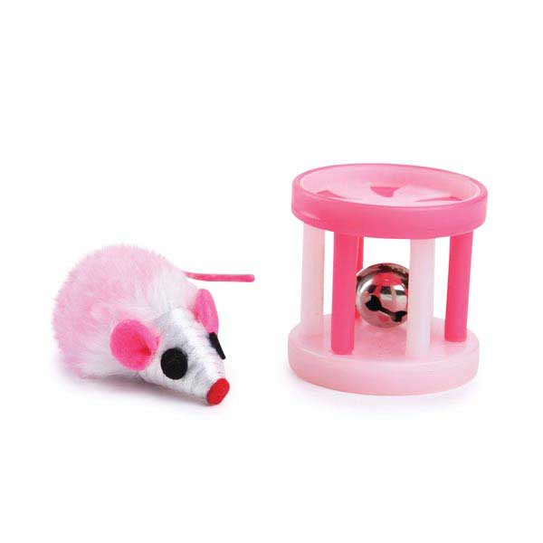 Savvy Tabby Two-Tone Mouse and Roller - Pink