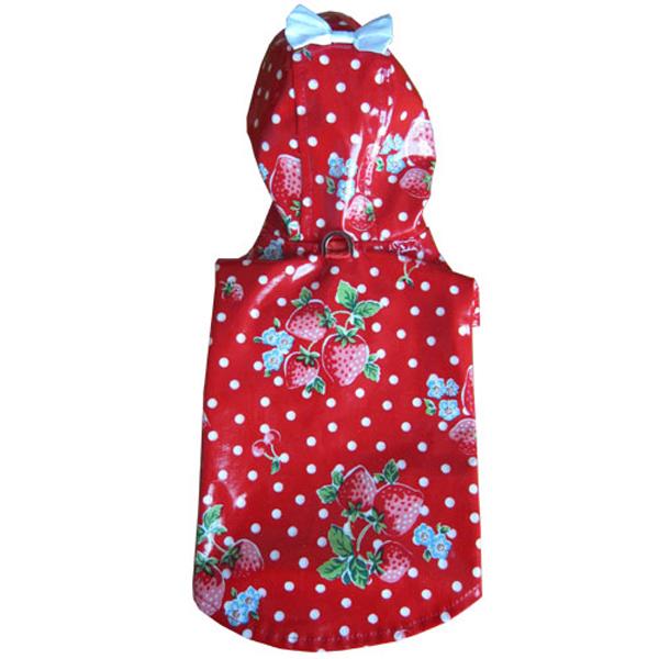 Scarlet Strawberries Dog Raincoat