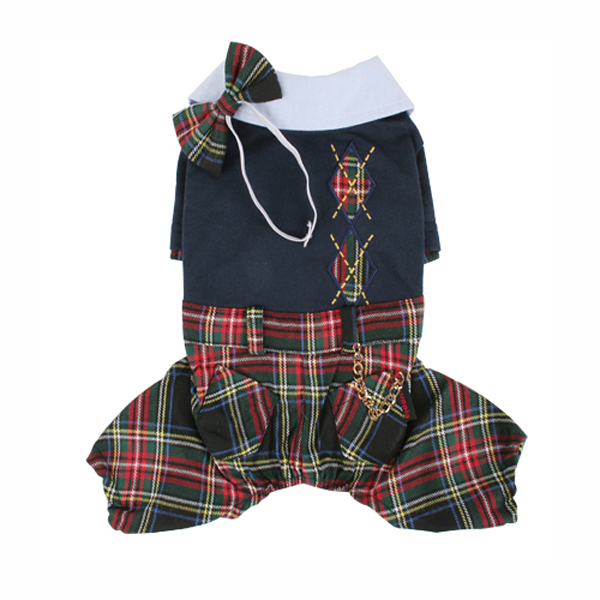 Scottie Plaid Jumpsuit by Puppia - Navy
