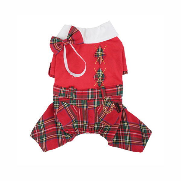 Scottie Plaid Jumpsuit by Puppia - Red
