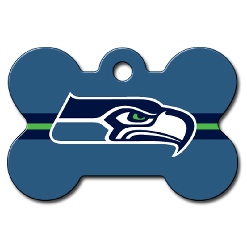 Seattle Seahawks Engravable Pet I.D. Tag - Bone