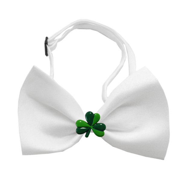 Shamrock Chipper Dog Dow Tie - White