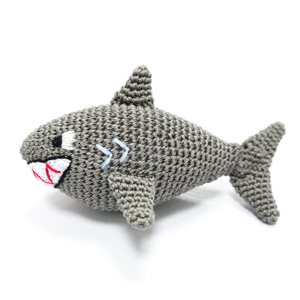 Shark Crochet Dog Toy by Dogo will swim into your dogs heart!