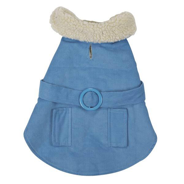 Sherpa Corduroy Dog Coat - Blue