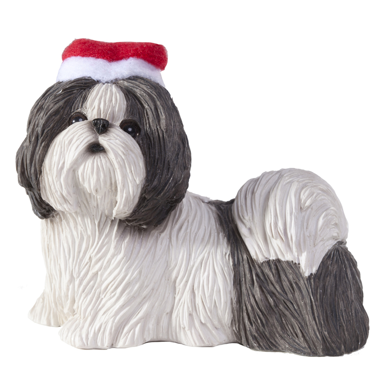 Shih Tzu Standing Christmas Ornament - Gray