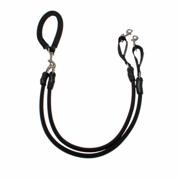 EZ Steps Shock Absorbing Stretch Dual Coupler Leash - Black