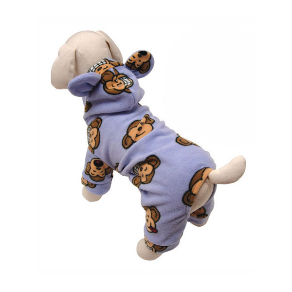 Silly Monkey Fleece Hooded Dog Pajamas by Klippo - Lavender