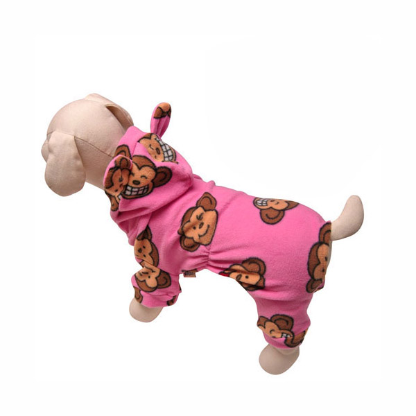 Silly Monkey Fleece Hooded Dog Pajamas by Klippo - Pink