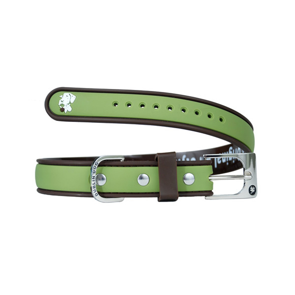 Simply Solid Dog Collar - Olive and Brown