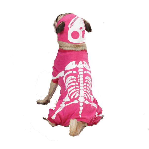 Skeleton Glow Bones Dog Costume - Pink