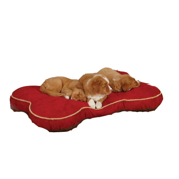 Slumber Pet Suede Bone Beds for Pet - Red