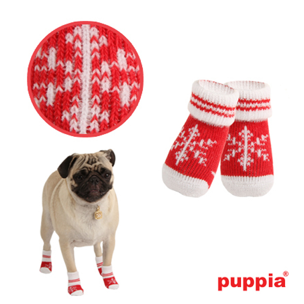 Snowflake Dog Socks by Puppia - Red