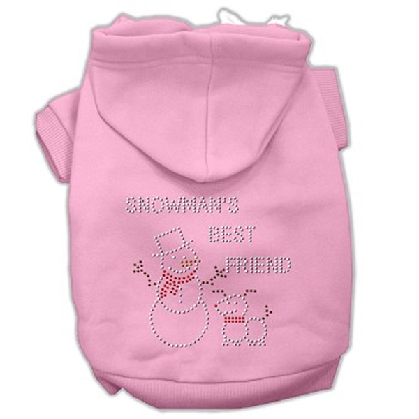 Snowman's Best Friend Rhinestone Dog Hoodie - Light Pink
