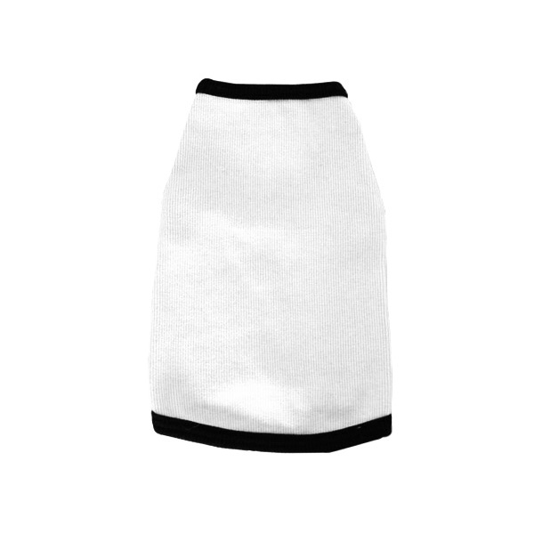 Spandex & Cotton Dog Tank Top - White with Black trim