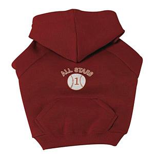 Sports Hooded Dog Sweatshirt -  Baseball
