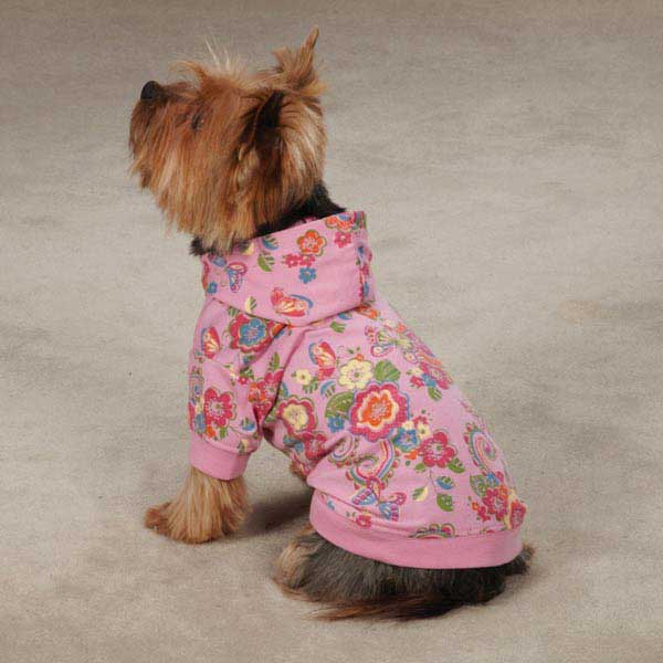 Spring Garden Pullover Dog Hoodie - Begonia Pink
