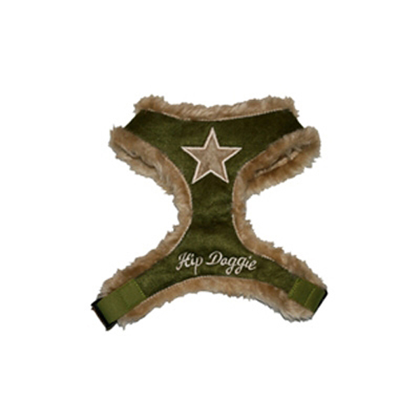 Star Fur Harness by Hip Doggie - Olive