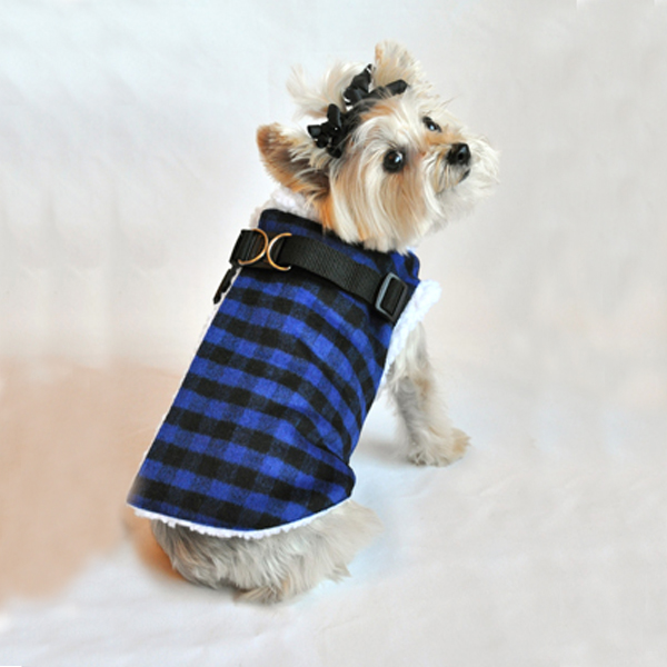 Step In Wrap Dog Coat - Black and Blue Checkered