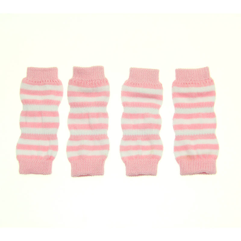 Striped Dog Leg Warmers - Pink and White