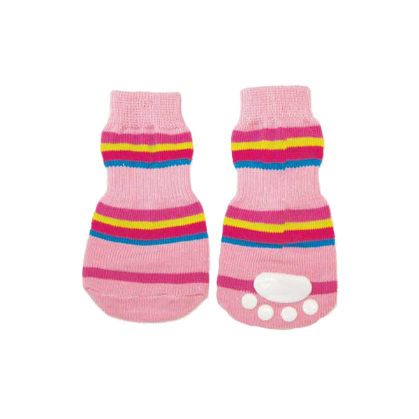 Striped Slipper Dog Socks- Pink