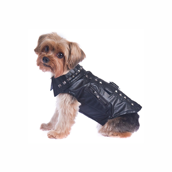 Studded Motor-Cross Pleather Dog Jacket