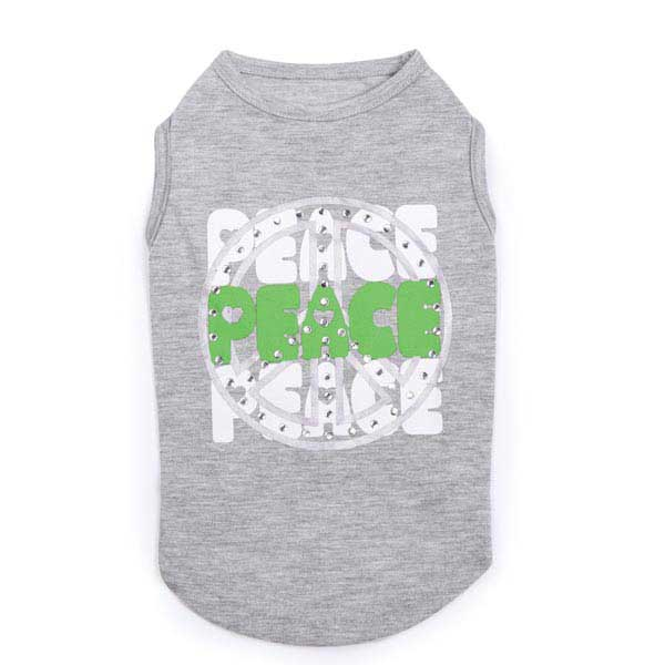 Studded Peace Dog Tank - Gray