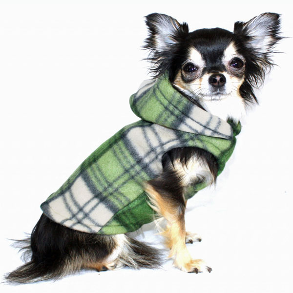 Super Soft Polar Fleece Dog Hoodie - Green Plaid