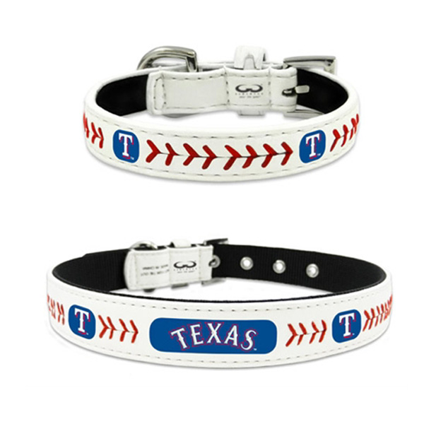 Texas Rangers Leather Dog Collar