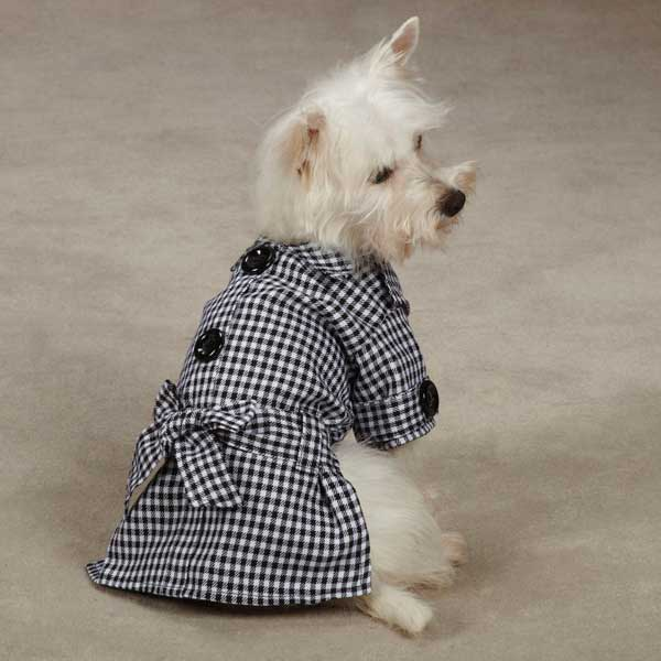 The First Lady Gingham Dog Trench Coat by East Side Collection