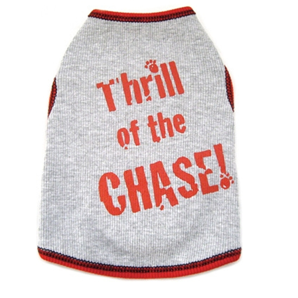 Thrill of the Chase Dog Tank Top - Gray