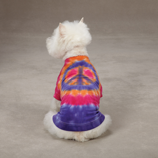 Tie Dye Peace Sign Dog T-Shirt - Purple
