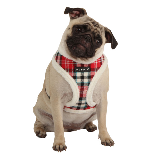 Uptown Argyle Dog Harness by Puppia - Red