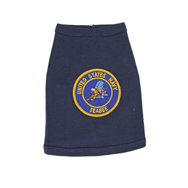 U.S. Navy Seabee Crest Dog Tank Top - Navy Blue