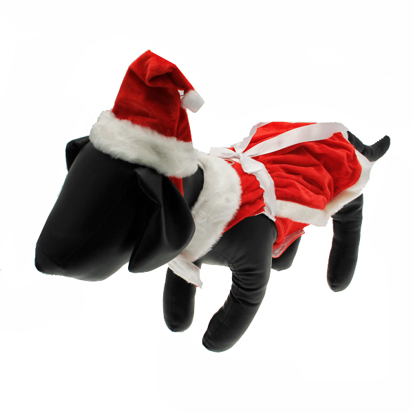 Velvet Santa Girl Dog Dress w/ Hat & Leash