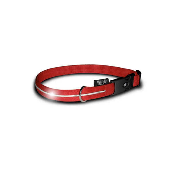 Visiglo Nylon Dog Collar with White LEDs - Red