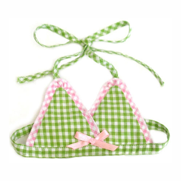 Watermelon Dog Bikini Top - Green & Pink
