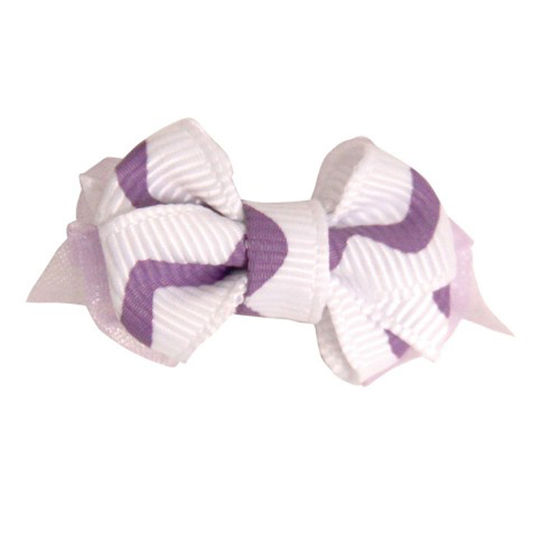 Wavy Stripe Dog Bow - Lilac