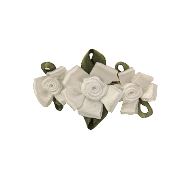 Wedding Petal Flowers Dog Barrette - White