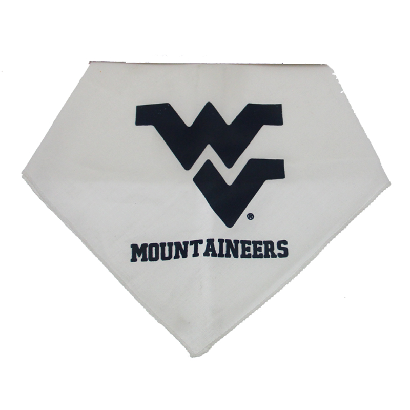 West Virginia Dog Bandana - White with Blue WV Mountaineers